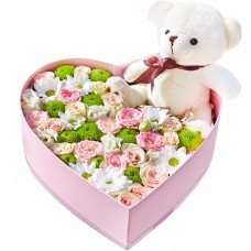 Коробка Цветы и мишка